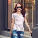 T-shirt Brown, dark blue, gray, white, red S,M,L,XL,2XL,3XL,4XL,5XL Summer of 2019 Short sleeve Crew neck easy Regular routine Sweet cotton 86% (inclusive) -95% (inclusive) 18-24 years old originality Thin horizontal stripe Other / other Ruili