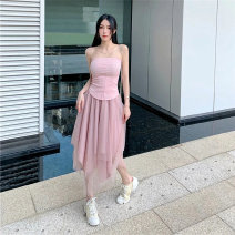 Fashion suit Summer 2021 18-25 years old 91% (inclusive) - 95% (inclusive) polyester fiber Pink bra, pink mesh skirt, green bra, green mesh skirt S,M