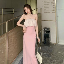 Dress Spring 2020 Black, pink S,M,L longuette singleton  Sleeveless commute One word collar High waist Solid color Single breasted One pace skirt other Others 18-24 years old Type X Korean version Ruffles, hollowed out, pleated, pleated, stitched, button 91% (inclusive) - 95% (inclusive) other other