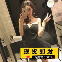 Dress Spring of 2018 Black, dark grey S, M Short skirt singleton  Sleeveless commute One word collar High waist Solid color zipper Ruffle Skirt Breast wrapping 18-24 years old Type A Retro Lotus leaf edge