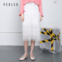 skirt Spring 2020 34/XS/155 36/S/160 38/M/165 40/L/170 42/XL/175 white Mid length dress Natural waist Umbrella skirt Solid color Type A 25-29 years old PR121502UC102 More than 95% other Peoleo / piaoyei polyester fiber Open line decoration Polyester 100%