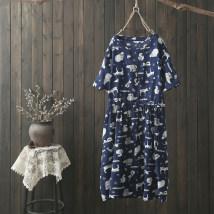 Dress Summer of 2018 Navy Blue Average size Mid length dress singleton  Short sleeve commute Crew neck middle-waisted Socket literature printing 30% and below hemp