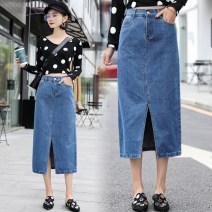 skirt Spring of 2019 26, 27, 28, 29, 30, 31, 32, 33, 34, 36, 38, 40 blue longuette commute High waist Denim skirt Solid color Type A 71% (inclusive) - 80% (inclusive) Denim cotton Pocket, worn, button, zipper, stitching Korean version