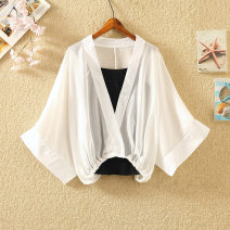 Lace / Chiffon Summer 2021 White, black, bright red, light gray, light sky blue Average size Short sleeve commute Socket Two piece set easy have cash less than that is registered in the accounts V-neck Solid color Bat sleeve 18-24 years old 5-25 V-neck, bat sleeve Korean version polyester fiber