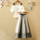 Dress Summer 2021 S,M,L,XL Mid length dress Two piece set Short sleeve commute One word collar High waist Solid color Socket Big swing Lotus leaf sleeve camisole 18-24 years old Type A Korean version Bows, ruffles, pleats, gauze 51% (inclusive) - 70% (inclusive) Chiffon polyester fiber