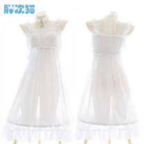 Pajamas / housewear set female Fat cat Average size white Polyester (polyester) Sleeveless Sweet Leisure home summer ultrathin One word collar Solid color Socket youth Chiffon Lotus leaf edge T0150 longuette