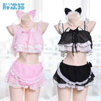 Nightdress Other / other Black, pink Average size sexy Leisure home Solid color youth