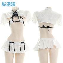 Pajamas / housewear set female Fat cat Average size white nylon sexy Living clothes summer routine Solid color youth 2 pieces bow T0123 Short skirt
