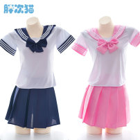Nightdress Other / other Navy, pink Average size sexy Short sleeve Leisure home Short skirt youth S0452