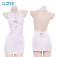 Nightdress Fat cat white Average size sexy Leisure home Solid color youth Polyester (polyester)
