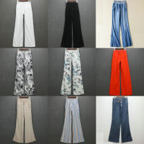 Casual pants Spring of 2019 trousers Wide leg pants High waist street Thin money 18-24 years old 51% (inclusive) - 70% (inclusive) Vellmentto / valmonto Cotton blended fabric pocket cotton Europe and America