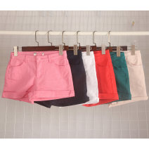 Jeans Summer 2020 White, sky blue, lake blue, dark blue, watermelon red, naked pink, rose pink, big red, dark green, army green, orange red 34,36,38,40,42 shorts High waist Wide legged trousers routine 25-29 years old Cotton elastic denim light colour Vellmentto / valmonto 96% and above