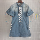 Dress Summer 2020 blue L,M,S,XS Short skirt Short sleeve street stand collar Solid color double-breasted other Lotus leaf sleeve 25-29 years old Type X Vellmentto / valmonto More than 95% Denim cotton Europe and America