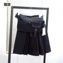 skirt Summer of 2019 XS with bag, s with bag, m with bag, l with bag Black spot Short skirt street Natural waist other Solid color Type A OG914782 More than 95% other polyester fiber Europe and America