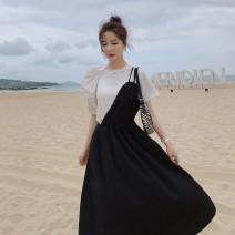 Dress Summer 2021 Picture color S,M,L,XL Mid length dress Two piece set Short sleeve commute Crew neck Solid color Socket Princess Dress puff sleeve 18-24 years old Type A Other / other Korean version CGL202C50 31% (inclusive) - 50% (inclusive) other polyester fiber