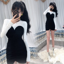 Dress Spring 2021 Black and white Average size Short skirt singleton  Long sleeves commute Crew neck High waist Solid color Socket One pace skirt routine Others 18-24 years old Type H Ol style 81% (inclusive) - 90% (inclusive)