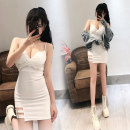 Dress Summer 2021 White, red S,M,L Short skirt singleton  Sleeveless commute V-neck High waist Solid color zipper One pace skirt routine camisole 18-24 years old Type H Ol style 31% (inclusive) - 50% (inclusive)