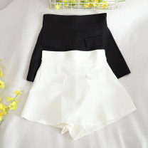 Casual pants Black, white S,M,L,XL Summer 2020 shorts Wide leg pants High waist commute routine 18-24 years old 30% and below other Button Asymmetry
