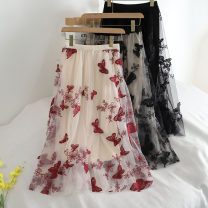skirt Spring 2020 Average size Mid length dress Versatile High waist A-line skirt Solid color Type A 18-24 years old 30% and below other other