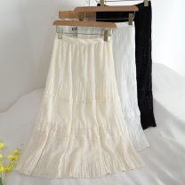 skirt Winter 2020 Average size Black, white, apricot Mid length dress Versatile High waist A-line skirt Solid color Type A 18-24 years old 30% and below other other