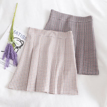 skirt Spring 2020 S,M,L Apricot, black Short skirt Retro High waist Pleated skirt lattice Type A 18-24 years old