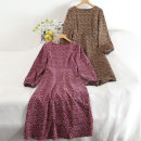 Dress Autumn 2020 Brown, rose Average size longuette singleton  Long sleeves commute Crew neck middle-waisted Decor Socket A-line skirt routine 18-24 years old Type A Korean version Splicing 30% and below other