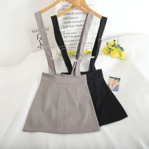 skirt Summer 2020 S,M,L,XL Black, white, grey Short skirt commute High waist A-line skirt Solid color Type A 18-24 years old