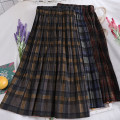 skirt Autumn of 2019 Average size Yellow, blue, apricot, red Mid length dress commute High waist A-line skirt lattice Type A 18-24 years old Korean version