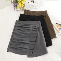 skirt Autumn 2020 S,M,L Khaki, black, grey Short skirt commute High waist A-line skirt Solid color Type A 18-24 years old 30% and below other other zipper