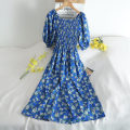 Dress Summer 2020 blue Average size Middle-skirt Two piece set Long sleeves commute Doll Collar middle-waisted Broken flowers zipper A-line skirt other Others 18-24 years old Type A 30% and below other other