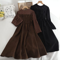 Dress Autumn 2020 black , khaki , Dark coffee Average size Mid length dress singleton  Long sleeves commute Crew neck High waist Solid color Socket A-line skirt Others 18-24 years old Type A Korean version 30% and below
