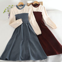 Dress Autumn 2020 Red, black, khaki, blue Average size Mid length dress singleton  Long sleeves commute Crew neck High waist Solid color other A-line skirt Others 18-24 years old Type A Retro 30% and below