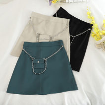 skirt Summer 2020 S,M,L,XL Apricot, blue, black Short skirt Versatile High waist A-line skirt Solid color Type A 18-24 years old 30% and below other