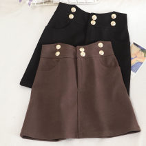 skirt Autumn 2020 S,M,L Brown, black Short skirt Versatile High waist A-line skirt Solid color Type A 18-24 years old 30% and below other