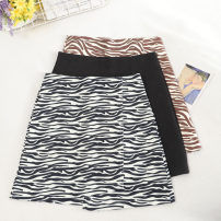 skirt Autumn 2020 S,M,L,XL Khaki, solid black, black and white Short skirt commute High waist A-line skirt Zebra pattern Type A 18-24 years old 30% and below other other zipper Korean version