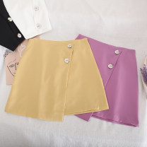 skirt Summer 2020 S,M,L,XL Short skirt Retro High waist A-line skirt Solid color Type A 18-24 years old