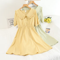 Dress Winter 2020 Yellow, blue, white, black, red, fruit green, pink Average size longuette singleton  Long sleeves commute Crew neck High waist Solid color Socket A-line skirt routine Others 18-24 years old Type A Frenulum 30% and below other
