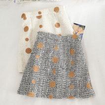 skirt Autumn 2020 S,M,L,XL Apricot, black Short skirt Versatile High waist A-line skirt Dot Type A 18-24 years old 30% and below