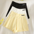 skirt Summer 2020 S,M,L,XL Black, white, bright yellow, navy Short skirt Versatile High waist Pleated skirt Solid color Type A 18-24 years old 30% and below other