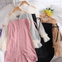 Dress Autumn of 2019 Average size Mid length dress singleton  Long sleeves commute Single breasted Korean version 30% and below other