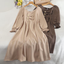Dress Autumn 2020 Brown, dark blue, apricot, black, grey blue Average size longuette singleton  Long sleeves commute V-neck High waist Solid color Socket A-line skirt pagoda sleeve Others 18-24 years old Type A Korean version Button 30% and below other other