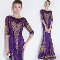 Dress / evening wear Wedding, adulthood, party, company annual meeting, performance, daily life XXL,XXXL,XXS,XS,S,M,L,XL Black, green, sapphire, deep purple, scarlet, champagne powder Intellectuality longuette middle-waisted Spring 2021 fish tail One shoulder zipper Netting 18-25 years old WL872