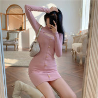 Dress Spring 2021 Grey, black, pink Average size Short skirt singleton  Long sleeves commute Crew neck High waist Solid color Socket One pace skirt routine 18-24 years old Type H Button 51% (inclusive) - 70% (inclusive) other