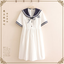 Dress Summer 2021 White, blue sky Average size Mid length dress singleton  Long sleeves Sweet Admiral Loose waist Socket A-line skirt routine Under 17 Type A 91% (inclusive) - 95% (inclusive) cotton college