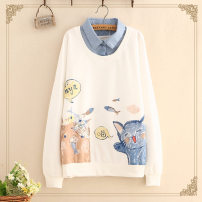 Sweater / sweater Spring 2021 White, light gray, Navy, beige plush, figure 1 plush, figure 2 plush, figure 3 plush One size Long sleeves routine Socket Fake two pieces Thin money Polo collar easy Sweet raglan sleeve Cartoon animation Under 17 91% (inclusive) - 95% (inclusive) cotton cotton