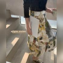 skirt Summer 2021 XS,S,M,L Oil painting printing Mid length dress Versatile