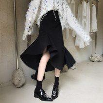 skirt Summer 2020 S,M,L black Mid length dress Versatile Irregular Solid color