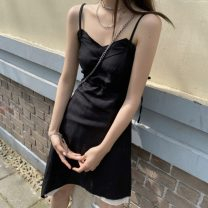 Dress Summer 2021 Black spot S,M,L Middle-skirt singleton  Sleeveless commute V-neck High waist Solid color Socket A-line skirt routine Others 18-24 years old Type A Other / other Korean version bow 51% (inclusive) - 70% (inclusive) other