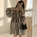 Dress Summer 2021 Picture color Average size Middle-skirt singleton  Long sleeves commute V-neck Loose waist Abstract pattern Socket A-line skirt routine Others 18-24 years old Type A Other / other Korean version Chiffon