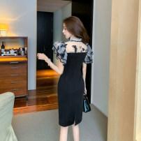 Dress Spring 2021 black S,M,L Mid length dress singleton  Sweet Solid color Ancient moon Splicing princess